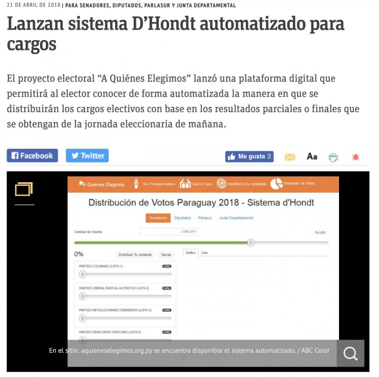 Lanzamiento Simulador del sistema D'Hondt | ABC